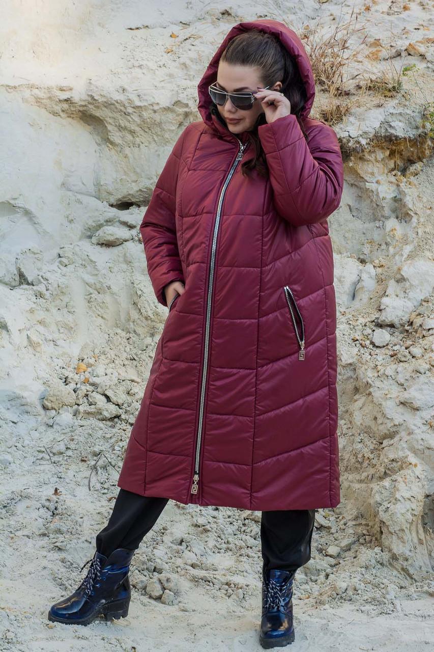 Удлиненное зимнее женское пальто стеганное в больших размерах 10151155