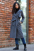 Пальто серое ниже колен
