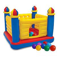 Детский надувной батут Intex 48259-1 «Замок», 175 х 175 х 135 см, с шариками 30 шт