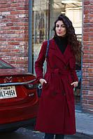 Зимнее удлиненное пальто бордовое