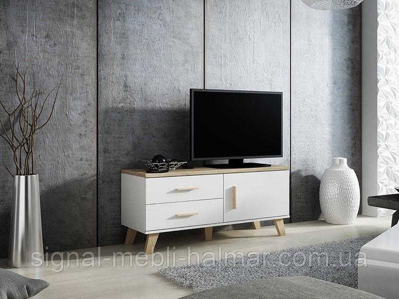 TV тумба Lotta 120 Белый мат / Дуб сонома мат Cama