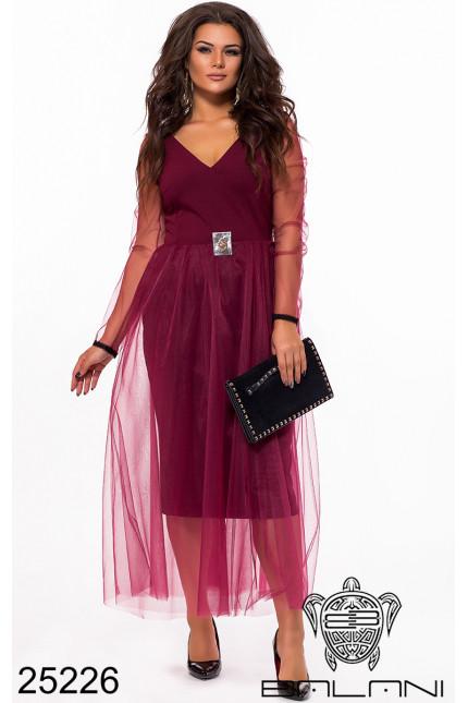 9be83b043068166 Оригинальное вечернее миди платье сетка фатин фабрика Украина Balani  большой размер 48-60