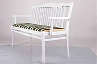 Банкетка- лавка из массива дерева с мягкой сидушкой -Версаль (цвет - белый)