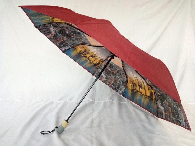 Бордовый женский зонт автомат 9 спиц с двойной тканью и городами внутри