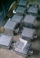 Каналізаційний трап 235*235 з нержавіючої сталі з горизонтальним виходом, фото 1
