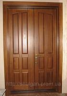 Дерев'яні двері подвійні, якісні вхідні двері, дубові двері П9