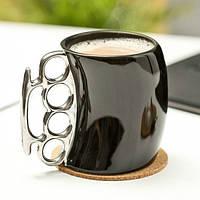 Чашка кастет Black с серебристой ручкой