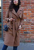 Пальто зимнее удлиненное бежевое