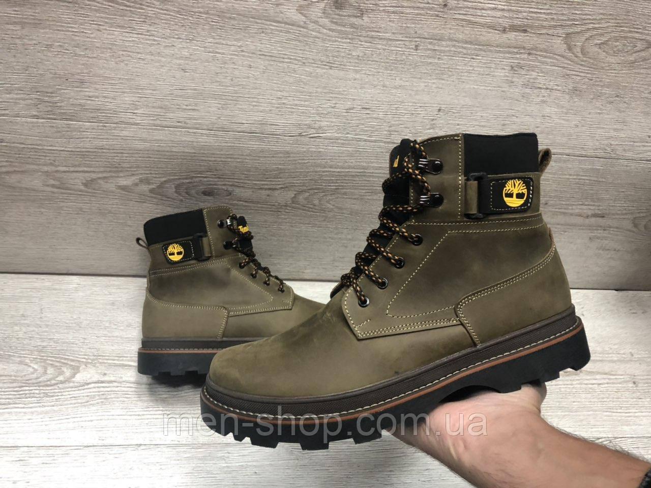 Зимние мужские ботинки с мехом  в стиле Timberland