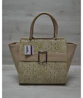 7ee147537fed Молодежная женская сумка WeLassie Ремень кофейный крокодил с кофейным  гладким