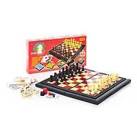 Шахматы 9863 (48шт) 8 в 1, пластмассовые, в кор-ке, 29-15-3,5см