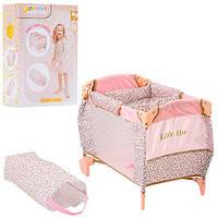 Кровать D-90186 (4шт) для куклы,52-34-37см 2в1(манеж),колеса2шт,чехол,в кор-ке,40,5-28-12шт