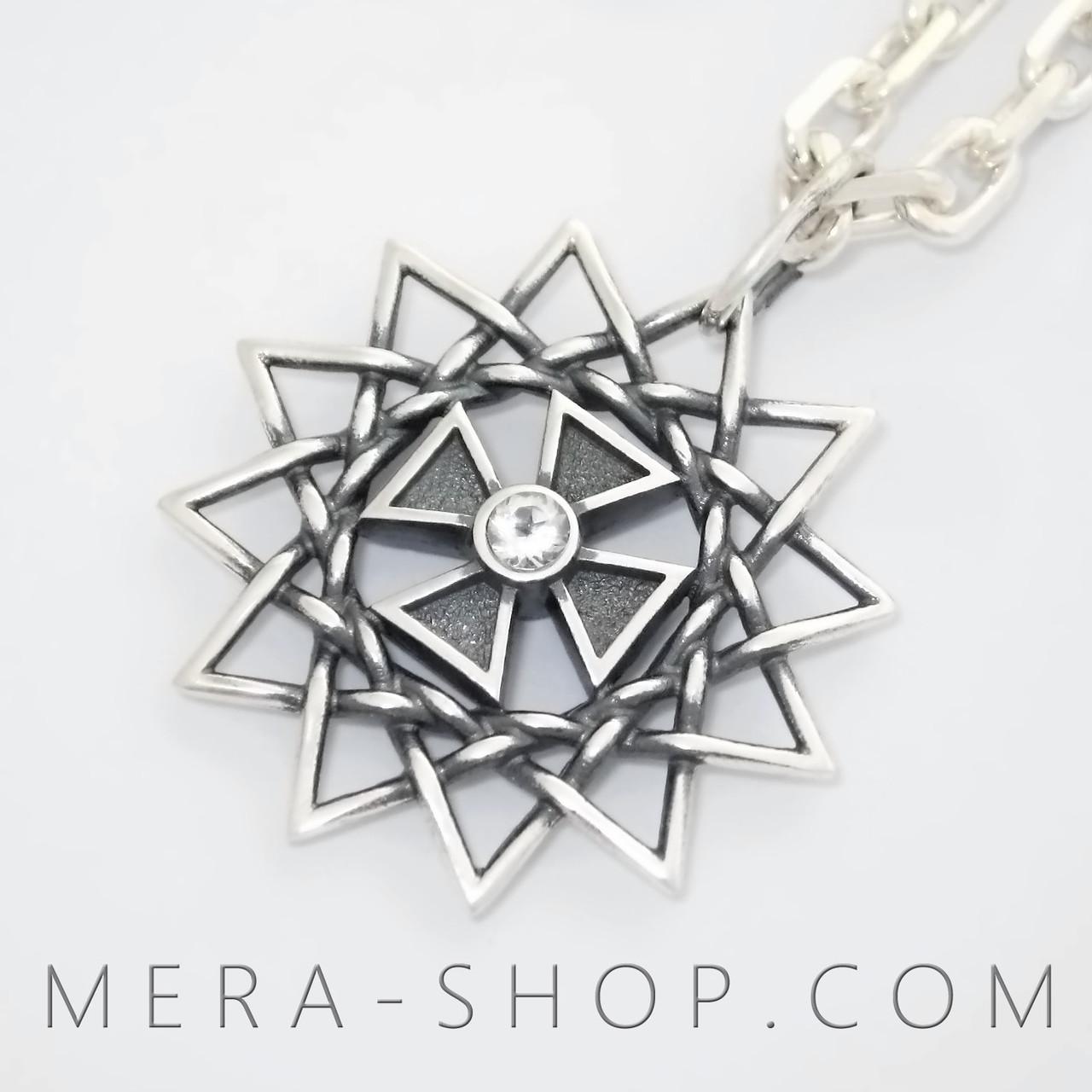 7203bfc39a1a Звезда Эрцгаммы с топазами белыми (двухсторонний кулон из серебра 925 пробы)