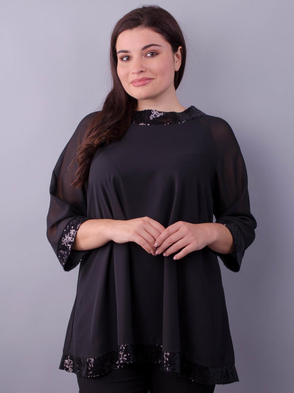 Блузка совбодного кроя Иней черный больших размеров