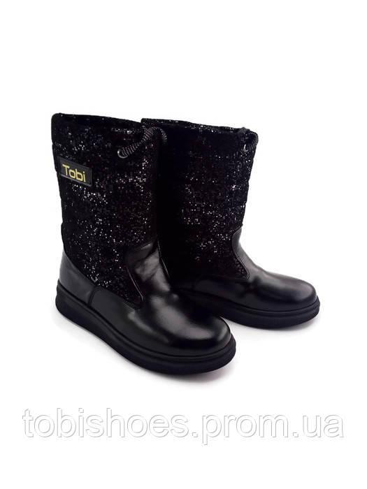 Дутики детские кожаные с замшевой вставкой на молнии 27-36 черного цвета -  Интернет- e6a188feb3ce0