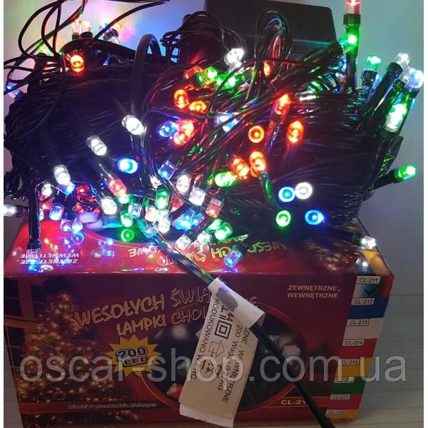 Новогодняя светодиодная гирлянда 200 LED мультицвет 16 м для дома и улицы на черном проводе