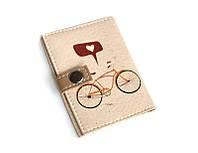 Обложка для ID паспорта -Велосипед с сердечком-