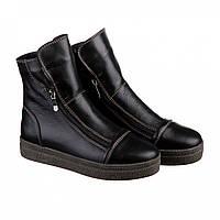 Кожаные женские ботинки по бокам с молниями, фото 1