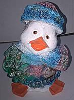 Игрушка новогодняя. Статуетка. Гіпсова фігурка. Пінгвін з ялинкою