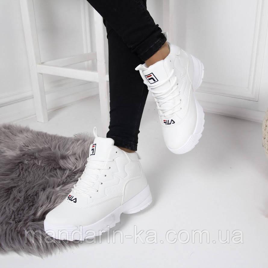Женские  зимние кроссовки Fila Фила белые  (реплика)