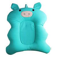 Противоскользящий детские коврик для ванной — Мятная хрюшка. Складная новорожденная купальная подушка