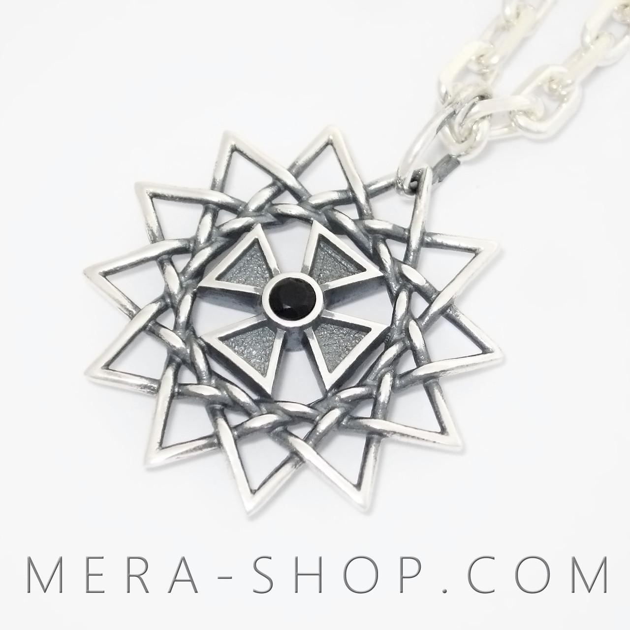 Звезда Эрцгаммы с ониксом чёрным двухсторонний кулон из серебра 925 пробы