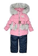 Комплект (куртка+полукомбинезон) 3951 тёмно-синий с розовым цвет (110)