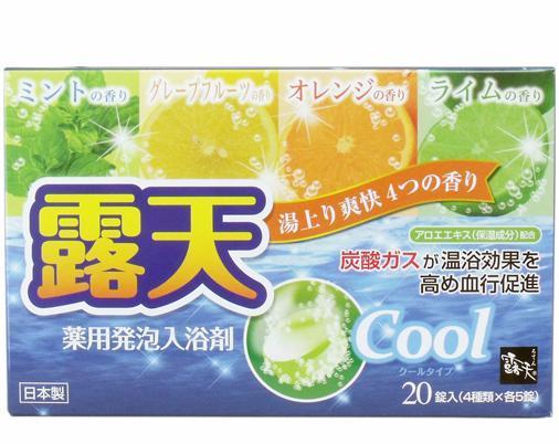 """Сіль для ванни на основі вуглекислого газу з охолоджуючим ефектом і ароматами м'яти """"Fuso Kagaku"""" """"Cool""""1таб/45г"""