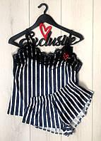 Пижама велюр полоска с кружевом