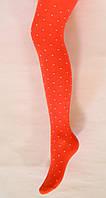 Хлопковые детские колготки оранжевого цвета в белую точку для девочки