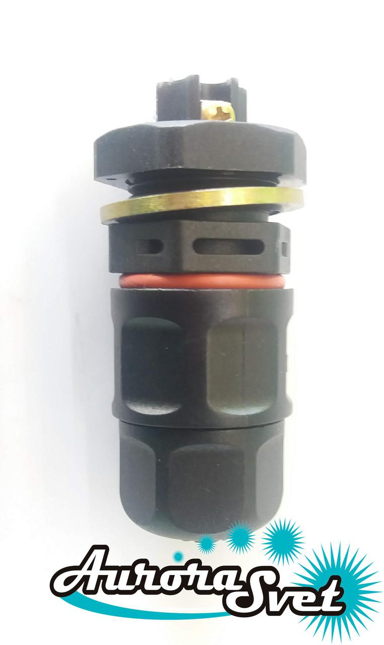 Водонепроницаемый (тип панель) соединитель до 3-х контактов WPP-03 Турция. Водостойкий разъём IP-68.
