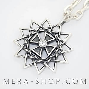 Звезда Эрцгаммы с фианитами двухсторонняя подвеска - амулет из серебра 925 пробы (30 мм, 5.3 г)
