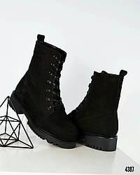 36 розмір! Зимові жіночі високі черевики на шнурівці чорні нубук
