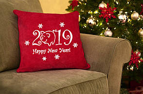 """Новогодняя подушка """"Happy New Year 2019""""  02"""