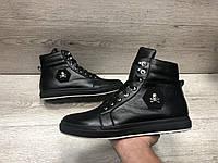 Зимние мужские ботинки в стиле Philipp Plein мех внутри, фото 1