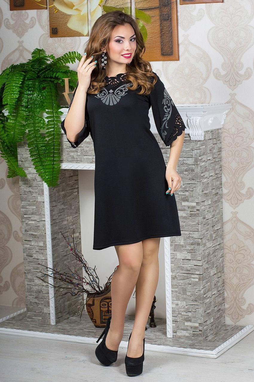 Женское молодежное платья свободного покроя рукав 3/4 размер 52