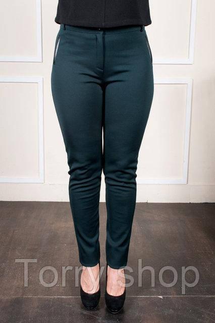 Женские приталенные брюки на байке, зеленого цвета