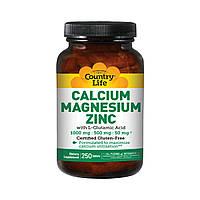 Кальций, Магний и Цинк с L-Глютамином, Calcium Magnesium Zync, Country Life, 250 таблеток