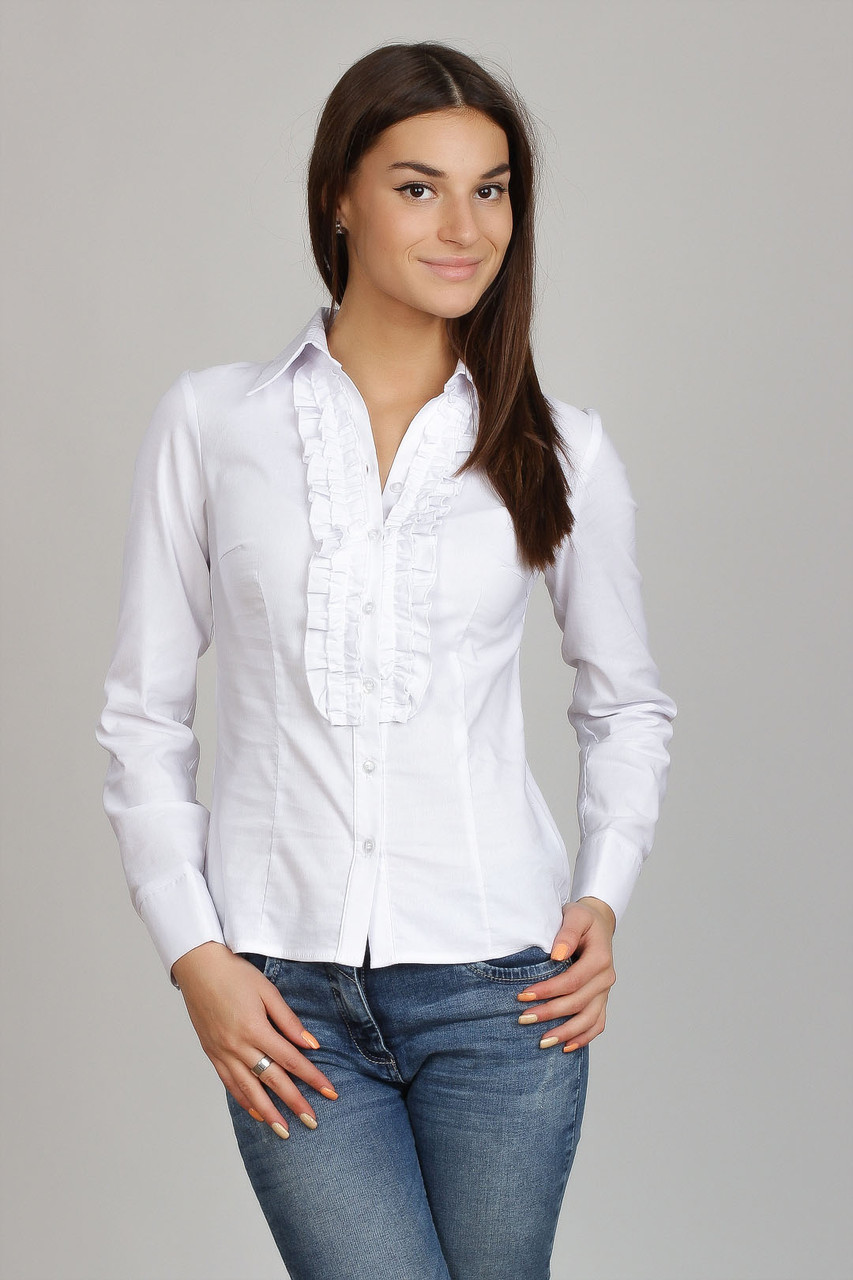 Белая хлопковая деловая блузка с рюшей до талии,  Р60