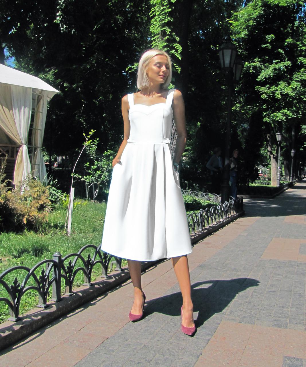 Платье-сарафан белое, арт.1011