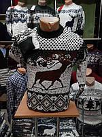 Мужской теплый новогодний свитер с оленями зеленый XXL, XL