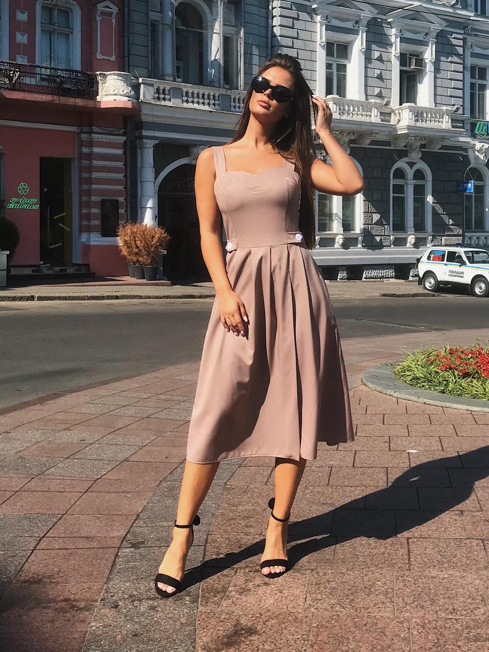 Платье-сарафан кофейное, арт.1011