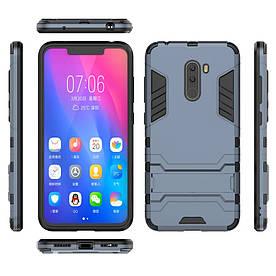 Чехол накладка для Xiaomi Pocophone F1 противоударный силиконовый с пластиком, Alien, темно-синий