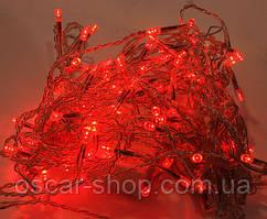 Новорічна світлодіодна гірлянда 300Led червона 22 м для будинку і вулиці на чорному проводі