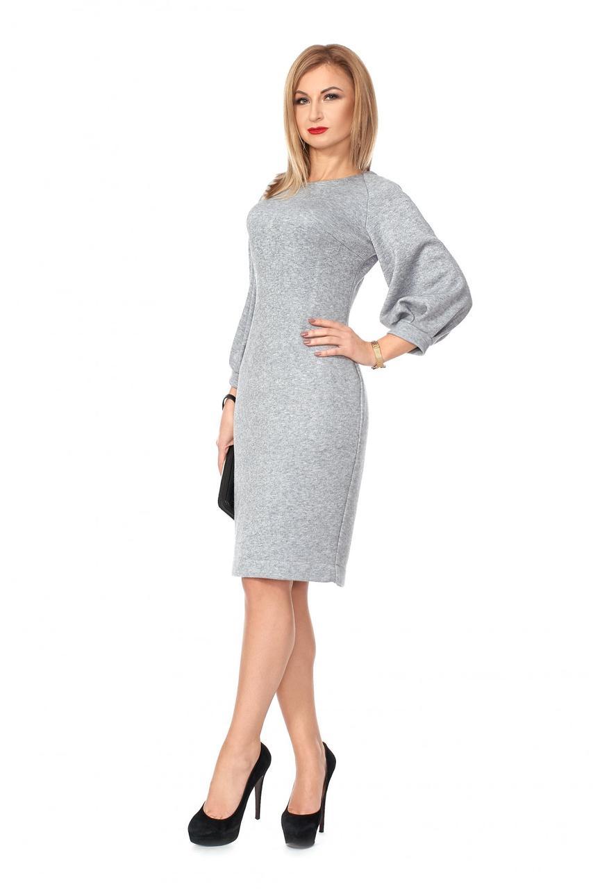 e52bbe22d3d Прилегающее ангоровое женское платье серого цвета  продажа