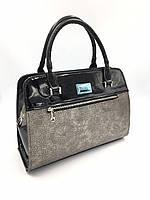 Женская каркасная сумка черная лаковая с вставкой серебро B.Elit -  брендовые сумки