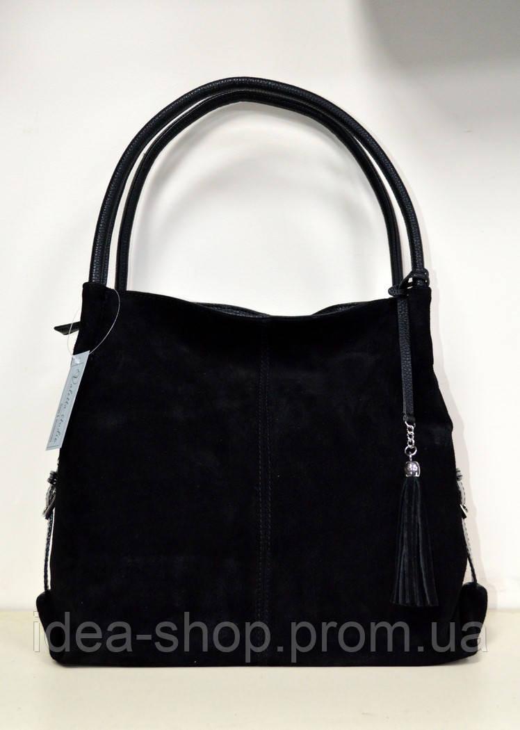 2c15c2cac2d4 Женская замшевая сумка через плечо черного цвета среднего размера, фото 1