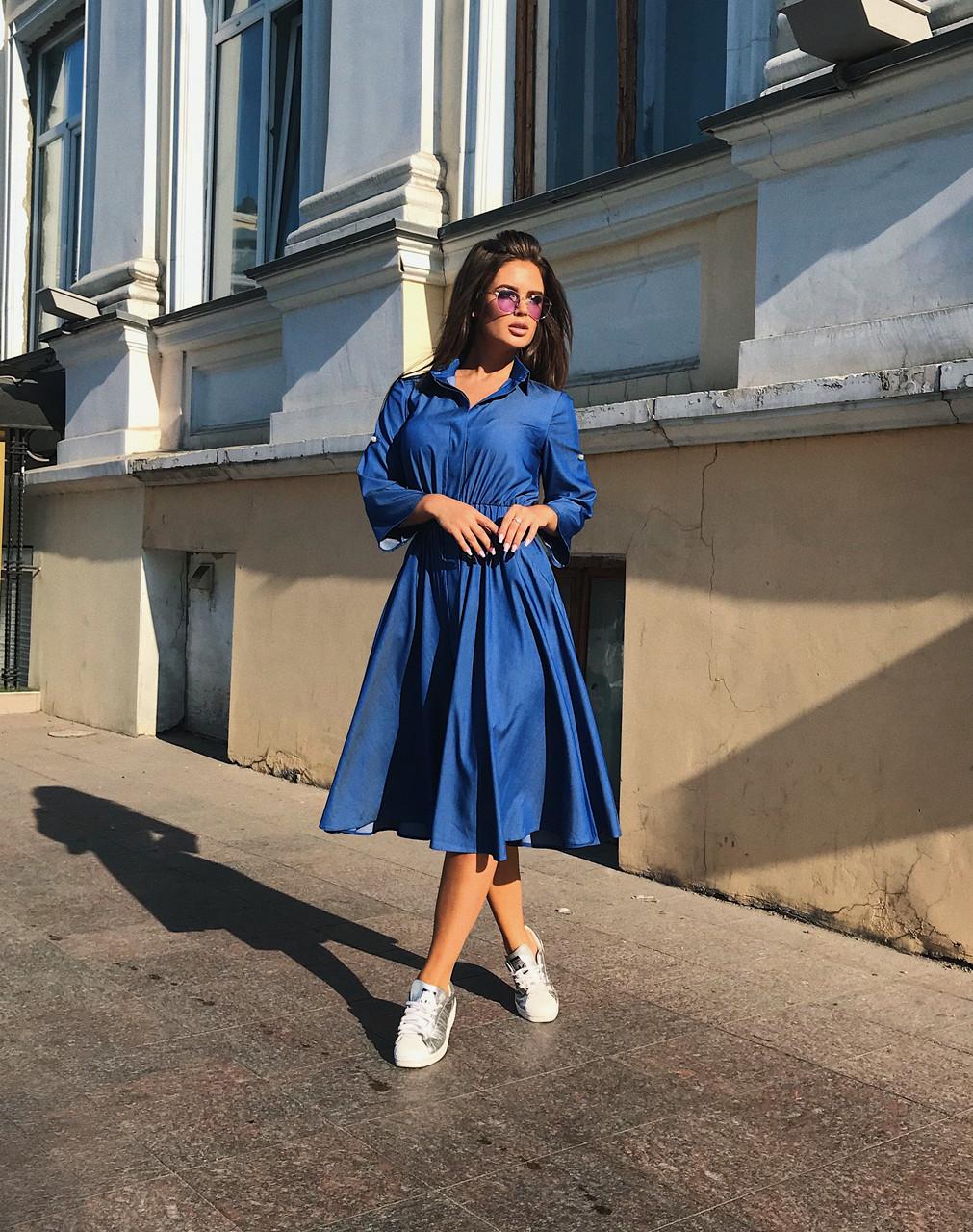 Платье-рубашка индиго, арт.1017