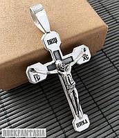 Серебряный мужской крестик распятие, срібний чоловічий хрестик розп'яття, фото 1