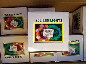 Новорічна світлодіодна гірлянда ЛАМПОЧКИ 20LED 7м мультиколор RB/RG, фото 3